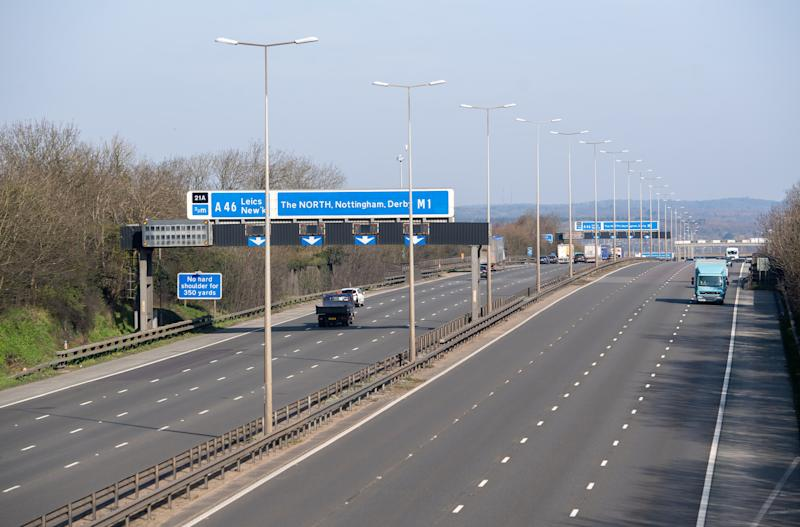 The M1 in Leicestershire during rush hour, the day after Prime Minister Boris Johnson put the UK in lockdown to help curb the spread of the coronavirus. (Photo by Joe Giddens/PA Images via Getty Images)