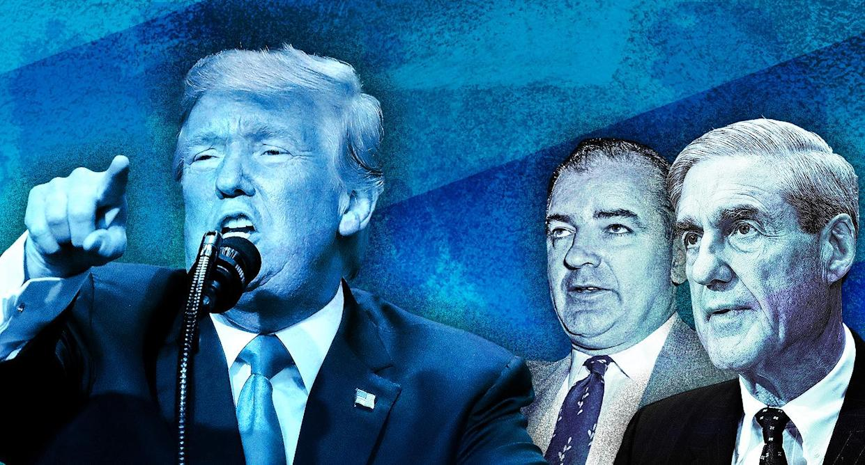 President Trump compared the investigation of Robert Mueller (right) into Russian meddling in the 2016 election to the hunt for Communists in the U.S. government by Sen. Joseph McCarthy (center) in the 1950s. (Yahoo News photo Illustration; photos: AP, Getty)