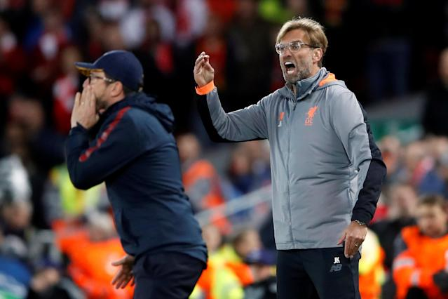 Soccer Football - Champions League Semi Final First Leg - Liverpool vs AS Roma - Anfield, Liverpool, Britain - April 24, 2018 Liverpool manager Juergen Klopp and Roma coach Eusebio Di Francesco Action Images via Reuters/Carl Recine