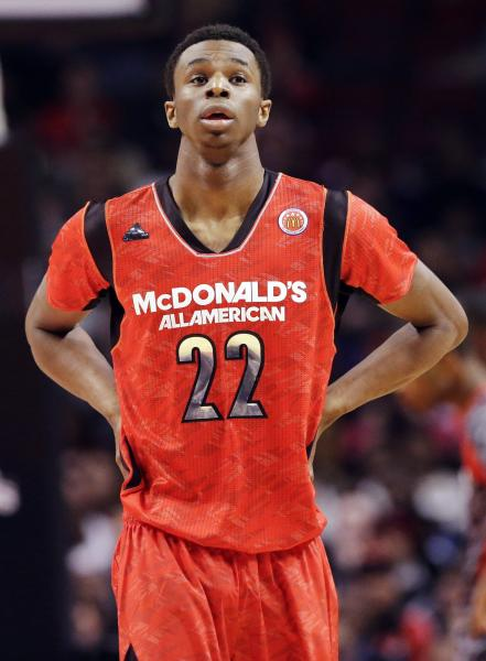 FILE - In this April 3, 2013, file photo, Andrew Wiggins looks up during the first half of the McDonald's All-American boys basketball game in Chicago. Wiggins signed a letter-of-intent with the University of Kansas at a private ceremony, Tuesday, May 14, 2013, in Huntington, W.Va. The Canadian star averaged 23.4 points and 11.2 rebounds per game this season for West Virginia's Huntington Prep. (AP Photo/Nam Y. Huh, File)