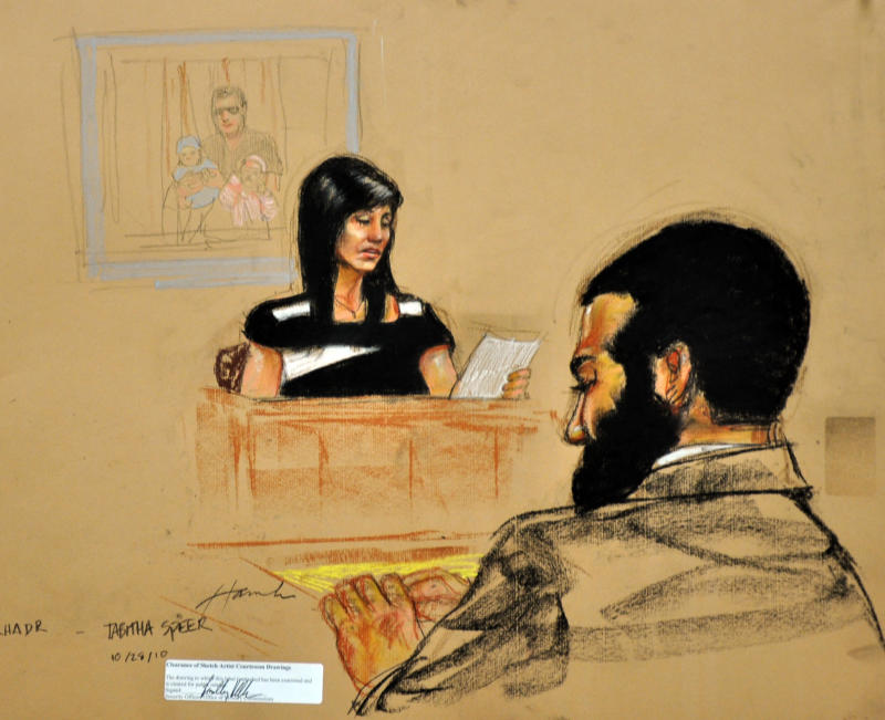 In this photo of a sketch by courtroom artist Janet Hamlin and reviewed by the U.S. Department of Defense, Tabitha Speer, widow of special forces Army medic Sgt. 1st Class Christopher Speer, testifies as Canadian Omar Khadr looks on during the fourth day of Khadr's sentence trial at Camp Justice on Guantanamo Bay U.S. Naval Base in Cuba, Thursday Oct. 28, 2010.  Khadr, who was 15 when captured by the U.S. after a fierce firefight that killed Christopher Speer in Afghanistan in 2002, pleaded guilty Monday to five war crimes charges as part of a plea deal that spared him from a possible life sentence and calls for sending him back to Canada after one more year in Guantanamo. (AP Photo/Janet Hamlin, Pool)