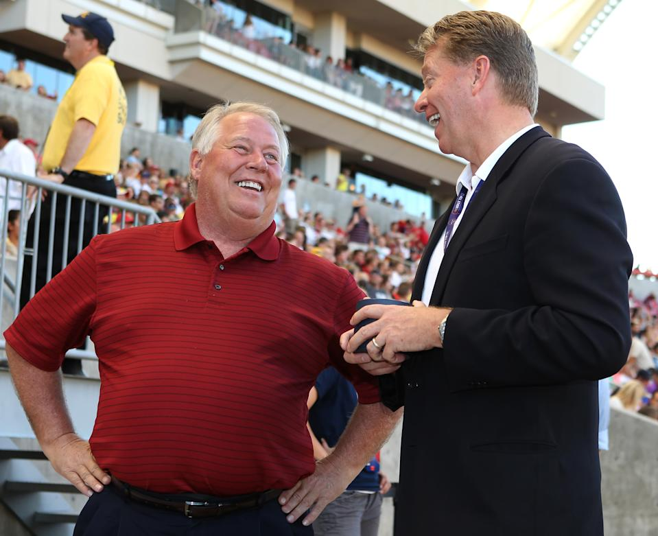 Real Salt Lake owner Dell Loy Hansen (left) has taken a leave of absence as MLS investigates claims he repeatedly used racist language in front of his employees and others. (George Frey/Getty Images)