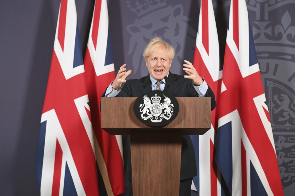 Britain's prime minister Boris Johnson speaks during a media briefing in Downing Street, London. Photo: Paul Grover/Pool Photo via AP