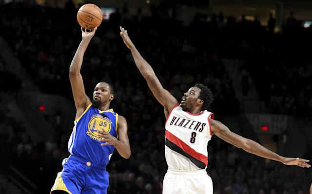"<a class=""link rapid-noclick-resp"" href=""/nba/players/4244/"" data-ylk=""slk:Kevin Durant"">Kevin Durant</a>'s back from his knee sprain in time for Round 1 against Portland. (AP)"