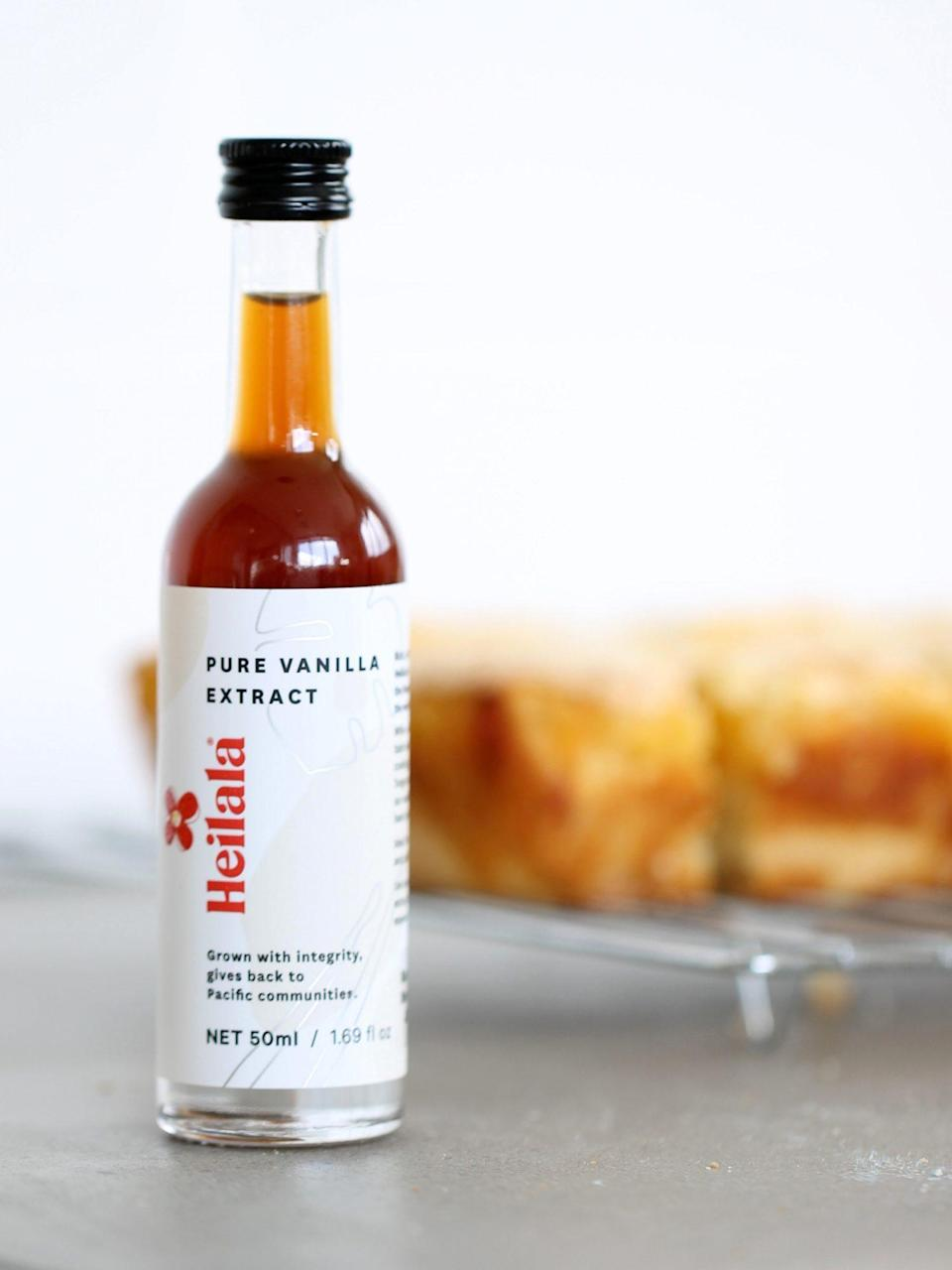 """<p>Started as an aid project after a cyclone hit Tonga in 2002, Heilala vanilla is now one of the <a href=""""https://www.marthastewart.com/1528019/heilala-vanilla-42-burners"""" rel=""""nofollow noopener"""" target=""""_blank"""" data-ylk=""""slk:favorite ingredients of professional bakers and chefs"""" class=""""link rapid-noclick-resp"""">favorite ingredients of professional bakers and chefs</a> in the United States. Through its vanilla, the company provides employment opportunities particularly for women. The bakers on your list will reach for the vanilla extract time and time again.</p> <p><strong><em>Shop Now: </em></strong><em>Heilala Pure Vanilla Extract, Sugar-Free, $14.57, <a href=""""https://www.amazon.com/Pure-Vanilla-Extract-Baking-Organically/dp/B01HJHX9ZO/ref=as_li_ss_tl?ie=UTF8&linkCode=ll1&tag=mslggforsustainablecooksbshirvelloct20-20&linkId=72833dd558ca05d82e4bc9a2122254cf&language=en_US"""" rel=""""nofollow noopener"""" target=""""_blank"""" data-ylk=""""slk:amazon.com"""" class=""""link rapid-noclick-resp"""">amazon.com</a>.</em></p>"""