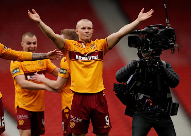 Soccer Football - Scottish Cup Semi-Final - Motherwell vs Aberdeen - Hampden Park, Glasgow, Britain - April 14, 2018 Motherwell's Curtis Main celebrates after the match Action Images via Reuters/Lee Smith