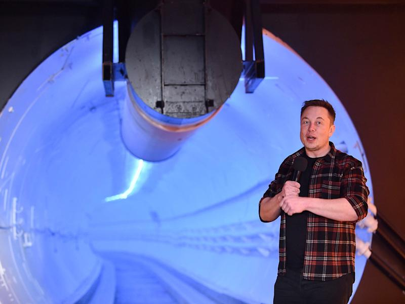 Elon Musk stands by a test tunnel dug by The Boring Company in Hawthorne, California (Getty Images)