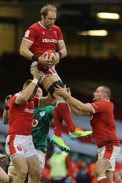 High life: Wales' skipper Alun Wyn Jones wins the ball
