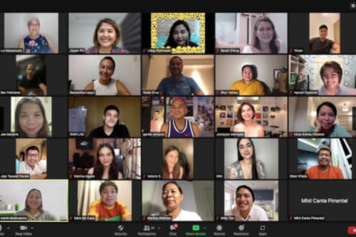The cast of 'Love, Die, Repeat' in a Zoom call