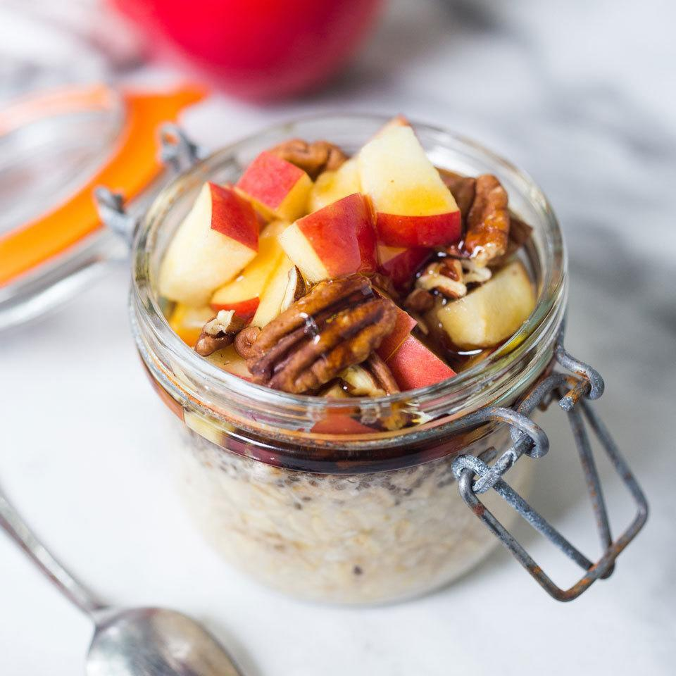 """<p>It takes just a few minutes in the evening to mix rolled oats and almond milk and you have a head start on a healthy breakfast the following morning. In the morning, top the oatmeal with fresh fruit and toasted nuts. Make up to 4 jars at once to keep in the fridge for quick grab-and-go breakfasts throughout the week. <a href=""""https://www.eatingwell.com/recipe/268076/apple-cinnamon-overnight-oats/"""" rel=""""nofollow noopener"""" target=""""_blank"""" data-ylk=""""slk:View Recipe"""" class=""""link rapid-noclick-resp"""">View Recipe</a></p>"""