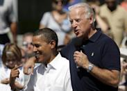 <p>In his bid for president in the 2008 election, Barack Obama chose Biden as his running mate. Here, they campaign together at the Toledo-Lucas County Public Library on August 31, 2008. </p>