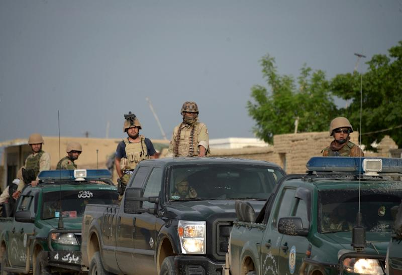 Afghan security forces, pictured in April 2017, in the Dihadi district of Balkh