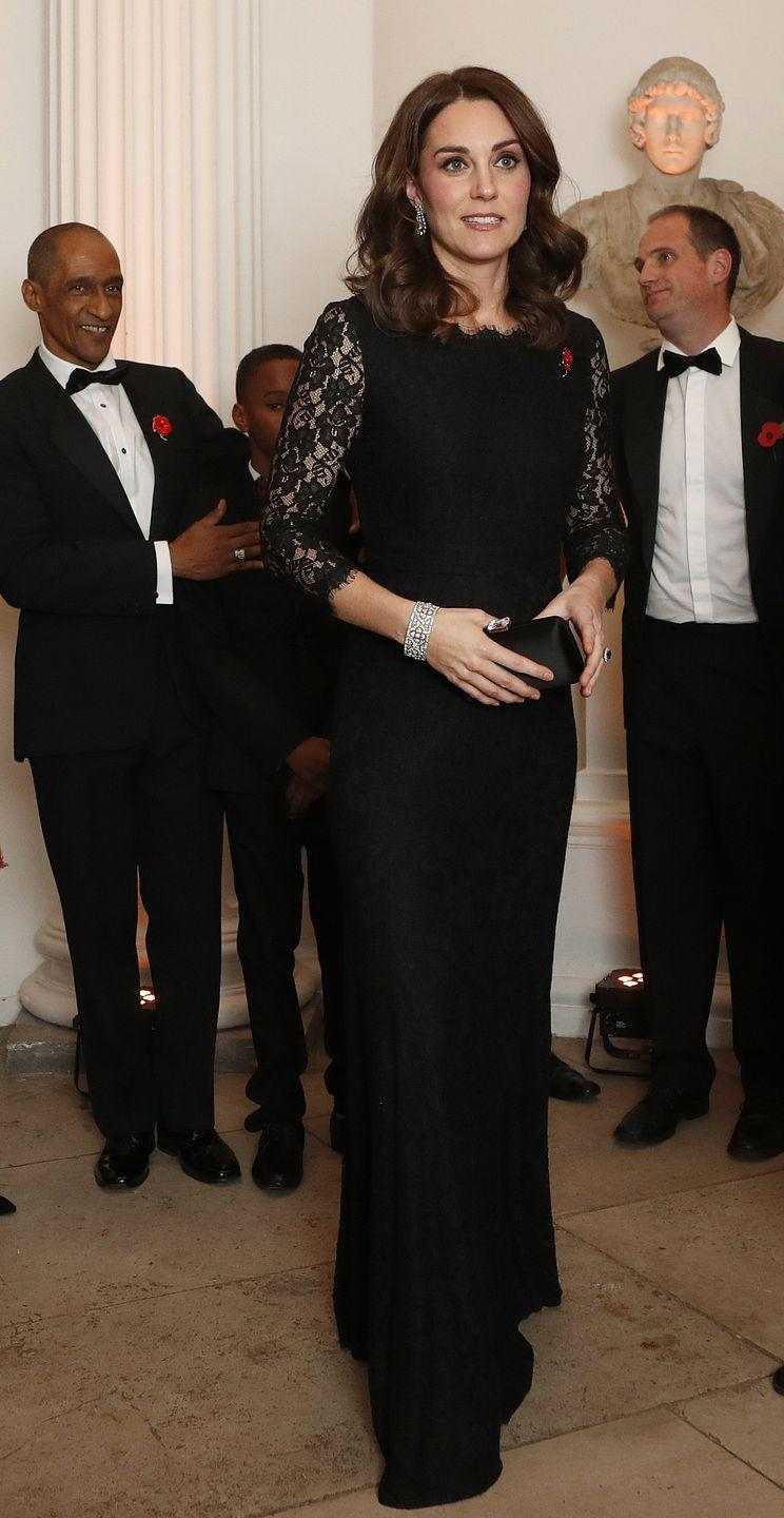 """<p>The Duchess stunned at the Anna Freud National Centre gala in her black lace, DVF Zarita gown with quarter-length sleeves. It's a dress we saw her wear at the Royal Variety Performance in 2014 and, funny enough, the same dress (in shorter style) we saw Meghan Markle try back in 2012. </p><p><strong>More:</strong> <a href=""""https://www.townandcountrymag.com/style/fashion-trends/g13040700/royals-wearing-same-outfit/"""" rel=""""nofollow noopener"""" target=""""_blank"""" data-ylk=""""slk:10 Times Royals Wore the Exact Same Dress"""" class=""""link rapid-noclick-resp"""">10 Times Royals Wore the Exact Same Dress</a><br></p>"""
