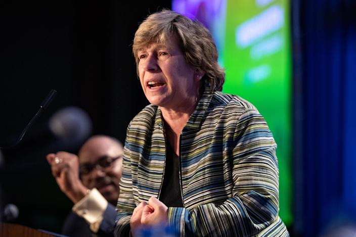 Randi Weingarten, president of the American Federation of Teachers, speaks during the American Federation of Government Employees (AFGE) Legislative and Grassroots Mobilization Conference in Washington, D.C., U.S., on Monday, Feb. 10, 2020. (Amanda Andrade-Rhoades/Bloomberg via Getty Images)
