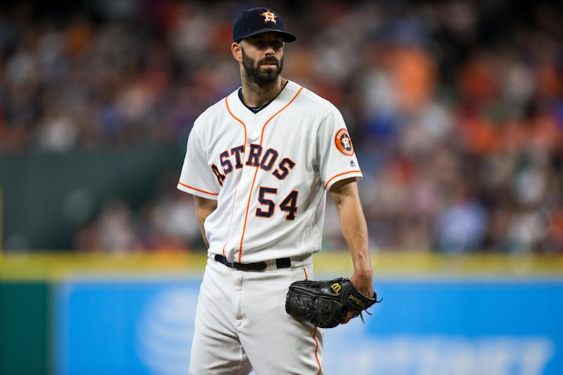 HOUSTON, TX - AUGUST 17: Houston Astros starting pitcher Mike Fiers (54) looks on in the fourth inning of a MLB game between the Houston Astros and the Arizona Diamondbacks at Minute Maid Park, Thursday, August 17, 2017. (Photo by Juan DeLeon/Icon Sportswire via Getty Images)