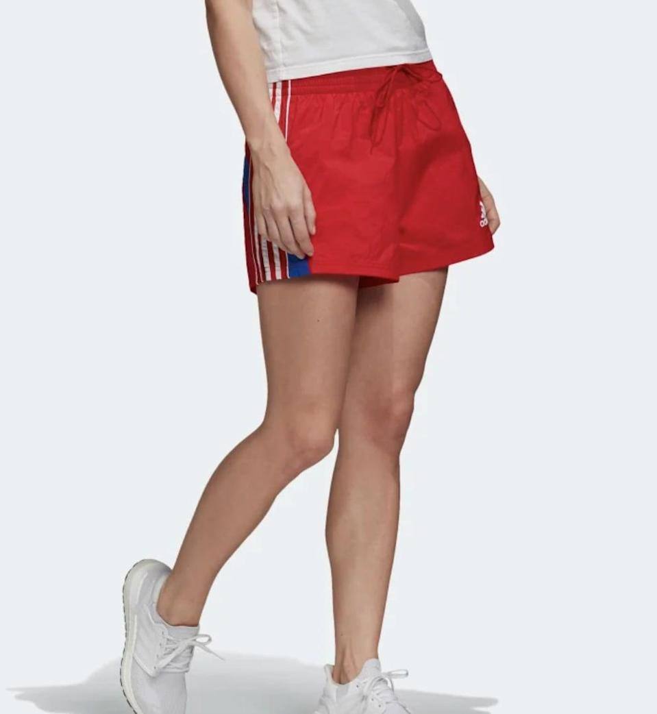 <p>These <span>Adidas Colorblock 3-Stripes Shorts</span> ($40) might remind you of something your dad would wear to exercise, but that's kind of the whole point. The red, white, and blue color scheme screams vintage - all that's missing are ankle socks and chunky sneakers.</p>