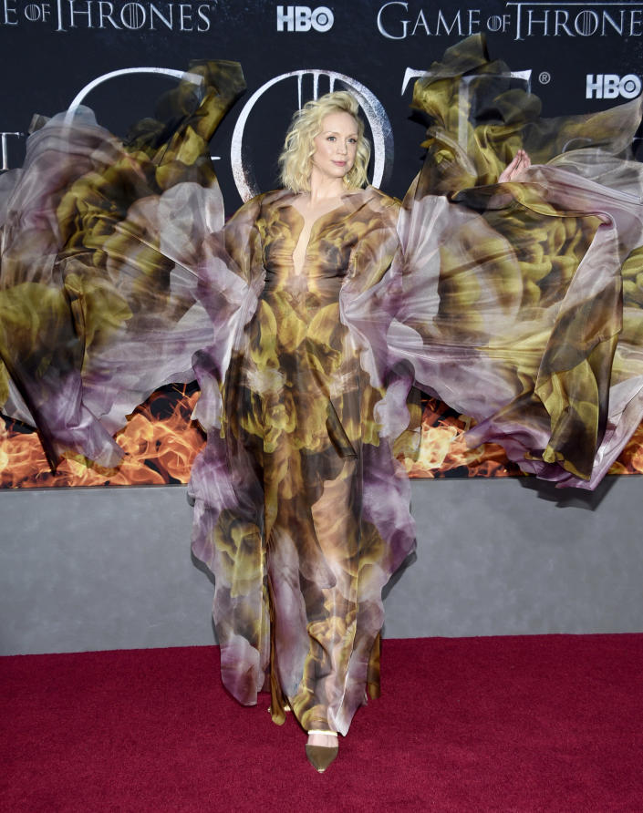 """Gwendoline Christie wears an Iris van Herpen gown at HBO's """"Game of Thrones"""" final season premiere in New York on April 3, 2019. (Photo by Evan Agostini/Invision/AP)"""