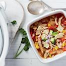 <p>Using bone-in chicken thighs in this soup ensures the meat stays moist over the long cooking time. Not only are chicken thighs inherently juicier than breast meat, but cooking chicken on the bone also helps it stay succulent.</p>