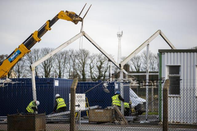 New checking facilities being built at Larne Port last year (Liam McBurney/PA)