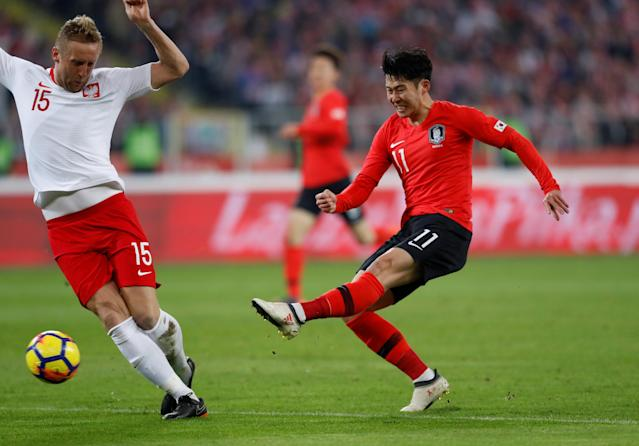 Soccer Football - International Friendly - Poland vs South Korea - Silesian Stadium, Chorzow, Poland - March 27, 2018 South Korea's Son Heung-Min shoots at goal REUTERS/Kacper Pempel