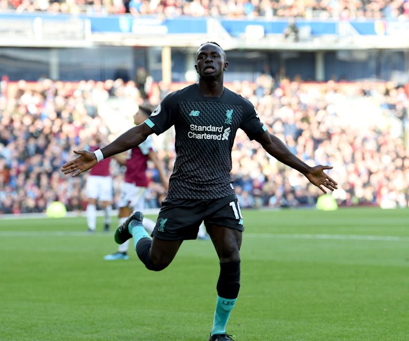 BURNLEY, ENGLAND - AUGUST 31: (THE SUN OUT, THE SUN ON SUNDAY OUT) Sadio Mane of Liverpool scores the second and celebrates during the Premier League match between Burnley FC and Liverpool FC at Turf Moor on August 31, 2019 in Burnley, United Kingdom. (Photo by John Powell/Liverpool FC via Getty Images)