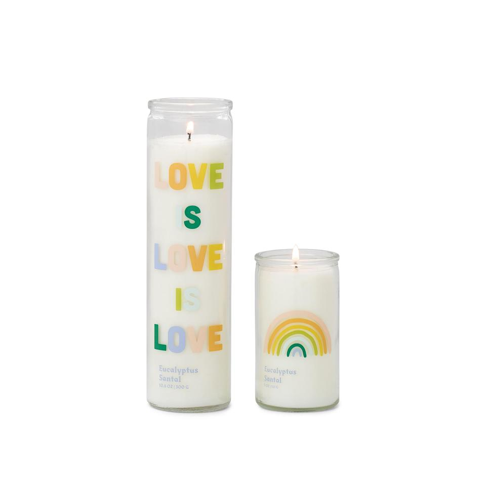"""<p>This tall jar candle is all about celebrating love in all its forms — and that's a message we can get behind this Valentine's Day! In addition to being colorful and unique, it also smells incredibly refreshing, with top notes of eucalyptus, sweet lime, cardamom, cucumber and melon.</p> <p><strong>Buy It!</strong> $20, <a href=""""https://www.pjatr.com/t/8-12069-131940-176793?sid=PEOTheBestValentinesInspiredCandlesfortheSingleorTakenCandleLoverInYourLifehchubbHomGal12564975202102I&url=https%3A%2F%2Fpaddywax.com%2Fcollections%2Fspark%2Fproducts%2Flolli-eucalyptus-santal"""" rel=""""nofollow noopener"""" target=""""_blank"""" data-ylk=""""slk:paddywax.com"""" class=""""link rapid-noclick-resp"""">paddywax.com</a></p>"""