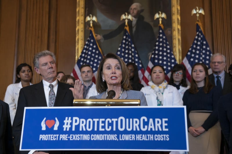 Speaker of the House Nancy Pelosi, D-Calif., joined at left by Energy and Commerce Committee Chair Frank Pallone, D-N.J., speaks at an event to announce legislation to lower health care costs and protect people with pre-existing medical conditions, at the Capitol in Washington, March 26, 2019. (Photo: J. Scott Applewhite/AP)