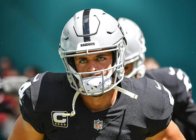 "Derek Carr thought his character was questioned and tweeted about setting up a fight with ESPN's ""First Take"" hosts. (Getty)"