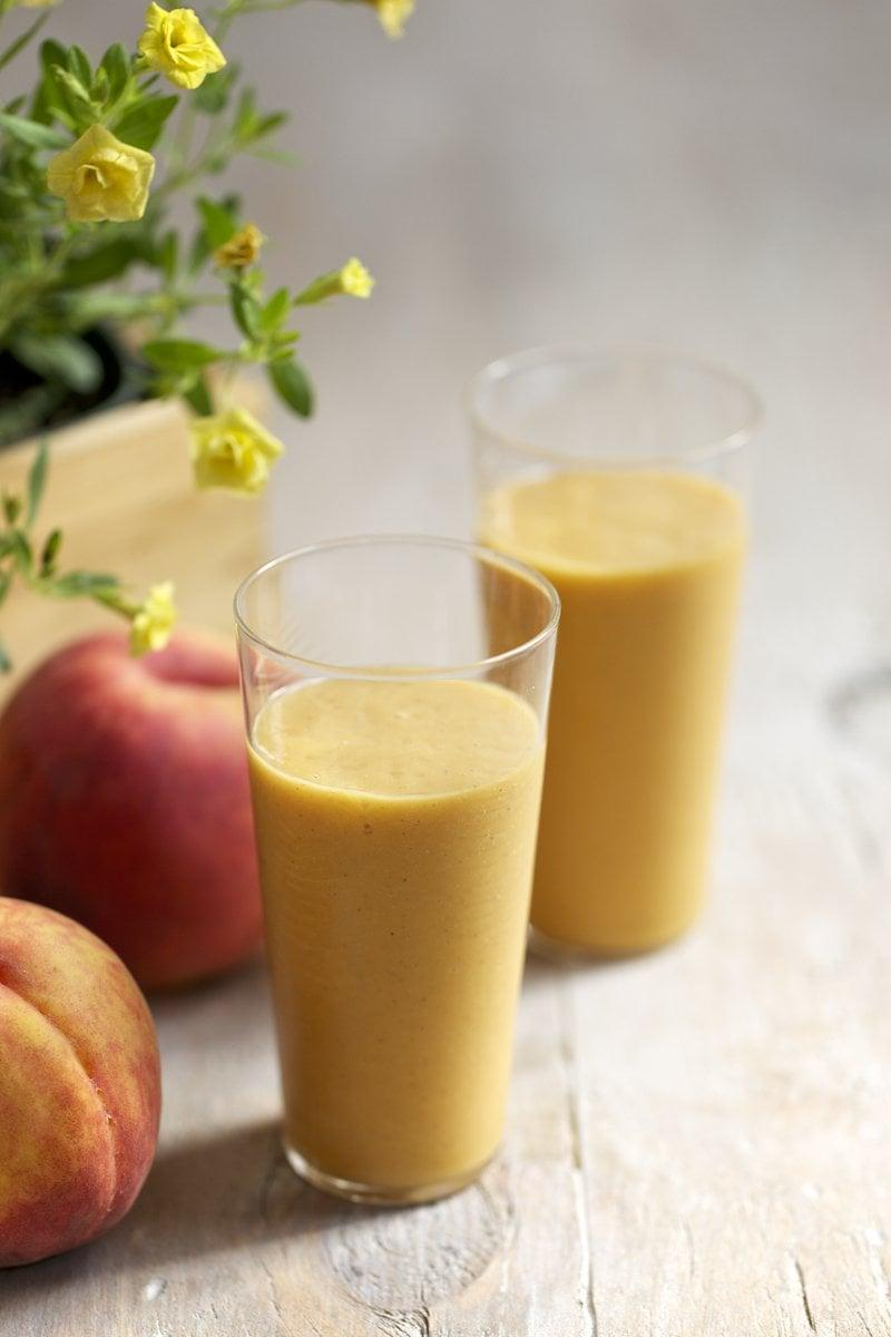 "<p><strong>Get the recipe:</strong> <a href=""https://www.popsugar.com/fitness/Sweet-Potato-Smoothie-38192085"" rel=""nofollow noopener"" target=""_blank"" data-ylk=""slk:sweet potato peach smoothie"" class=""link rapid-noclick-resp"">sweet potato peach smoothie</a></p>"