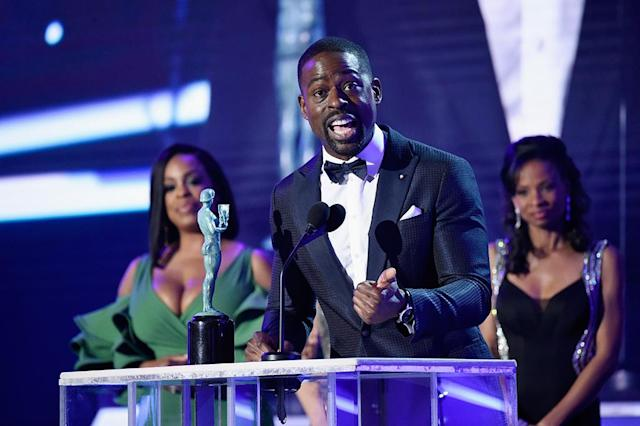 "<p>The accolades just keep on coming for the <em>This Is Us</em> star, who made history once again on Sunday by becoming the first black actor to win the SAG Award for Outstanding Performance by a Male in a Drama Series. After thanking his wife and his castmates, he added, ""To all those people out there still hustling, trying to make it: The fame won't sustain you, the money won't sustain you — the love? Keep that love alive, it will keep you going!"" (Photo: Kevin Mazur/Getty Images for Turner Image) </p>"