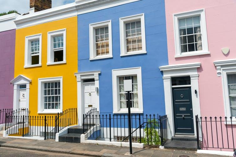 Colourful houses in London.