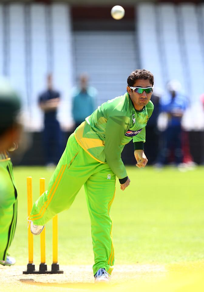 LONDON, ENGLAND - JUNE 5:   Saeed Ajmal bowls during a nets session at The Kia Oval on June 5, 2013 in London, England. (Photo by Jan Kruger-ICC/ICC via Getty Images)