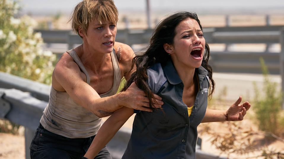 """Natalia Reyes, right, and Mackenzie Davis star in Skydance Productions and Paramount Pictures' """"TERMINATOR: DARK FATE."""""""
