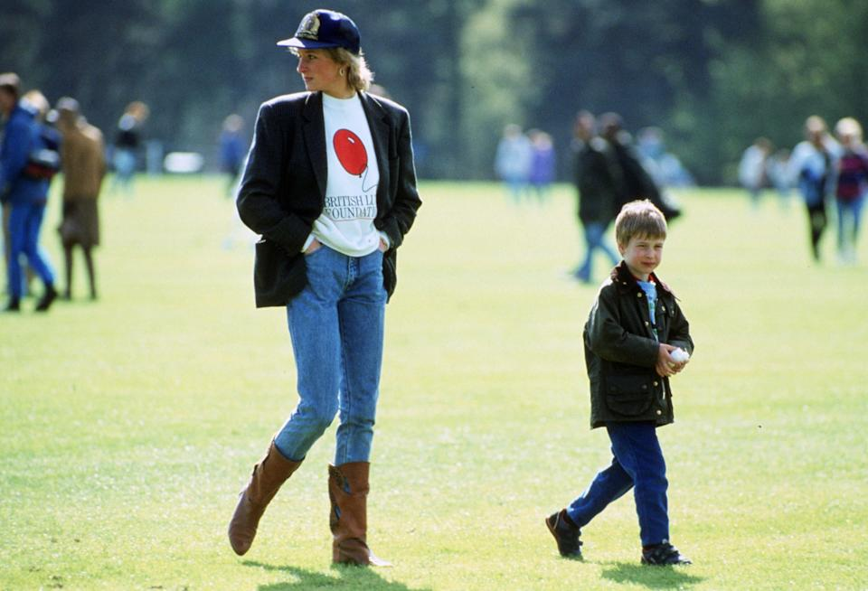 Princess Diana in jeans and cowboy boots at Guards Polo Club in 1988 - Tim Graham
