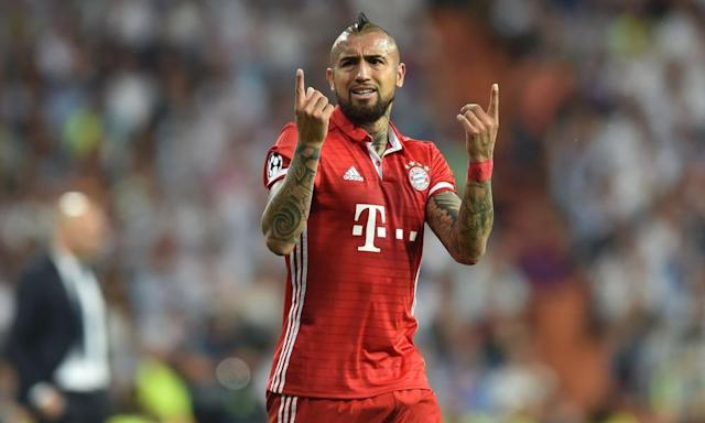 """<span class=""""element-image__caption"""">Arturo Vidal was sent off after being booked twice on Tuesday against Real Madrid.</span> <span class=""""element-image__credit"""">Photograph: Christof Stache/AFP/Getty Images</span>"""