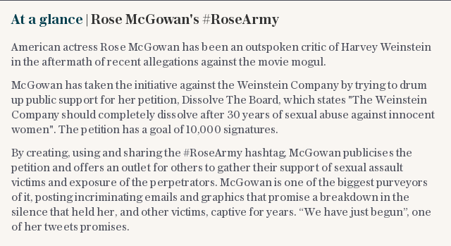 At a glance | Rose McGowan's #RoseArmy