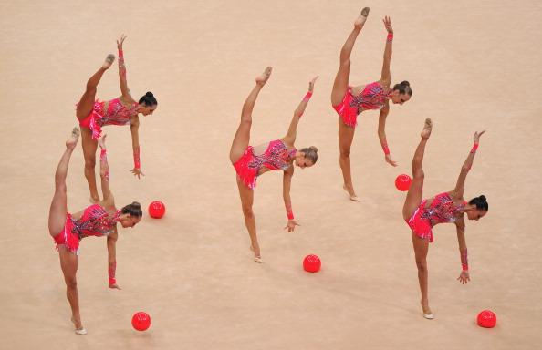 The Italy team compete in the Group All-Around Gymnastics Rhythmic on Day 13 of the London 2012 Olympics Games at Wembley Arena on August 9, 2012 in London, England. (Photo by Michael Regan/Getty Images)