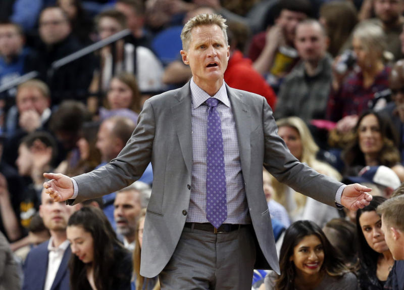 Golden State Warriors coach Steve Kerr questions a call during the second half of the team's NBA basketball game against the Minnesota Timberwolves on Friday, March 10, 2017, in Minneapolis. The Timberwolves won 103-102. (AP Photo/Jim Mone)