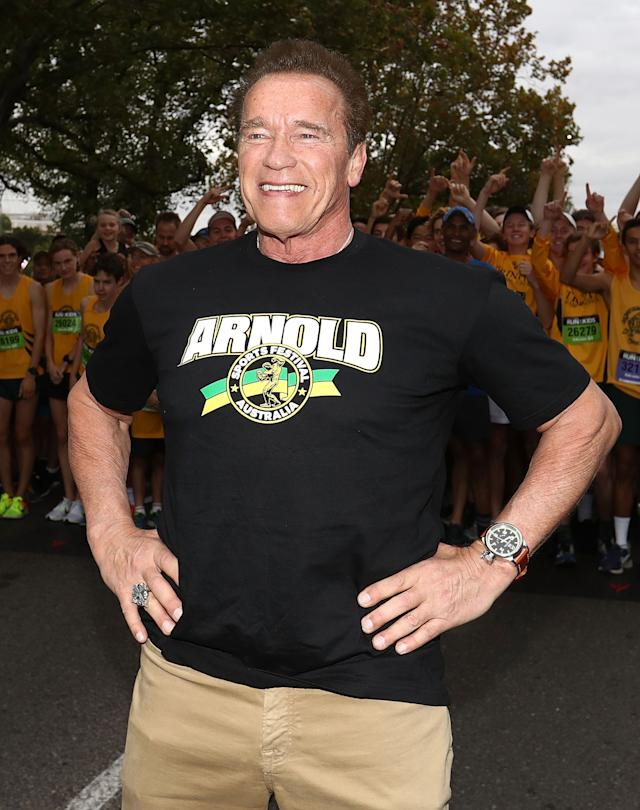 <span>Arnold Schwarzenegger</span> prepares to start the Run for the Kids charity run as part of the Arnold Sports Festival Australia on March 18, 2018. (Photo: Robert Cianflone/Getty Images)