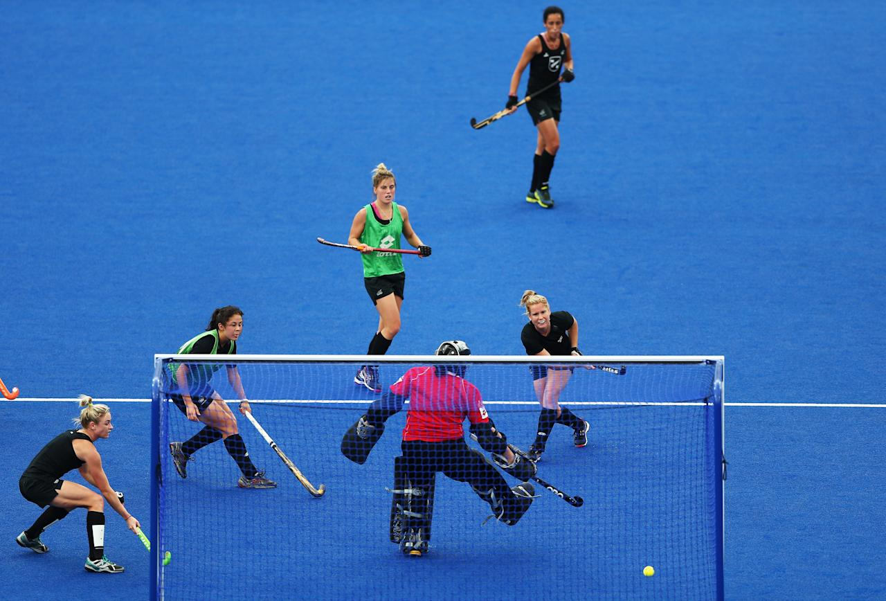 The New Zealand Ladies Hockey Team practices at the Hockey Arena during previews ahead of the London 2012 Olympic Games at Olympic Park on July 17, 2012 in London, England.  (Photo by Paul Gilham/Getty Images)