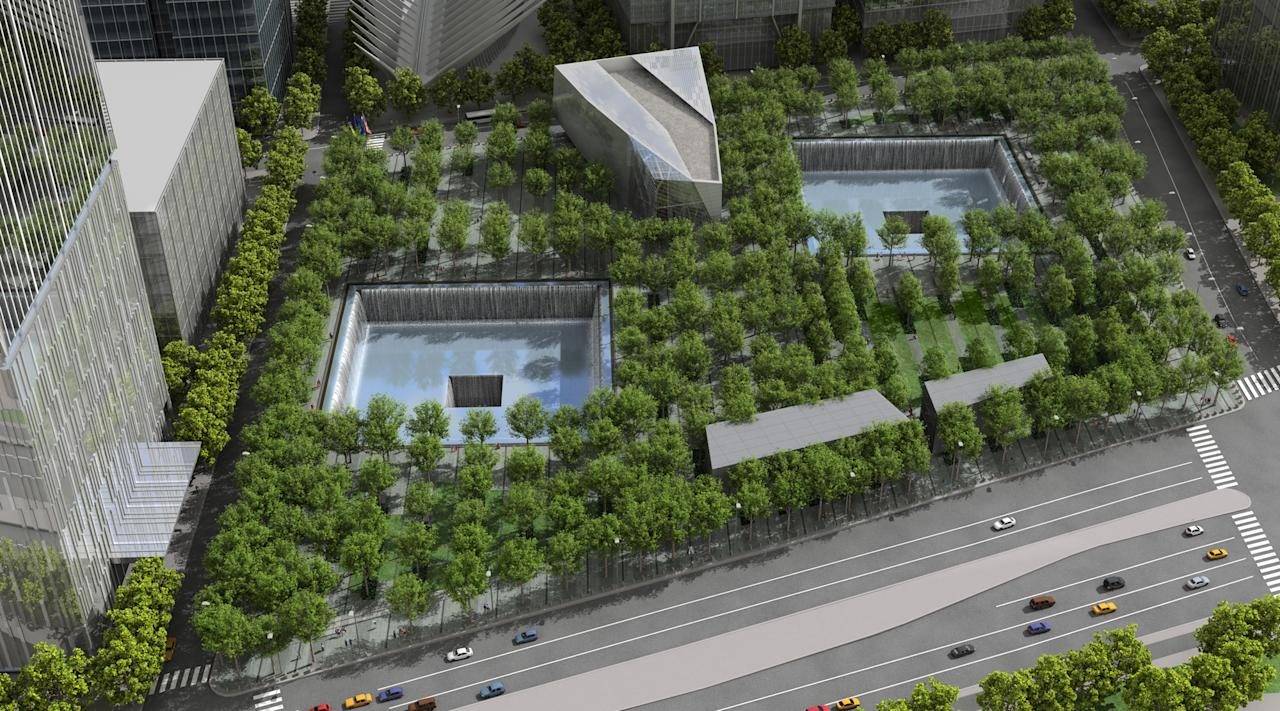 A rendering of the aerial view of the Memorial quadrant. Squared Design Lab