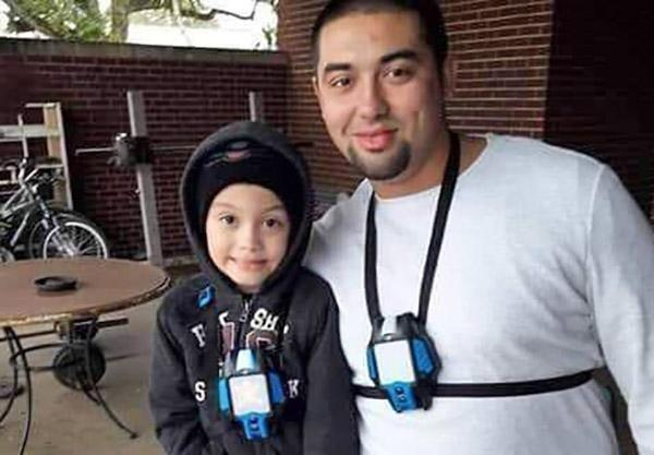 Nicolas Chavez with his son. (Courtesy of Joaquin Chavez)