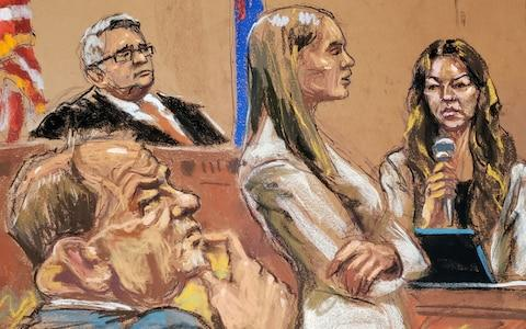 Witness Mimi Haley is questioned by Assistant District Attorney Meghan Hast in front of Judge James Burke as film producer Harvey Weinstein listens - Credit: REUTERS/Jane Rosenberg