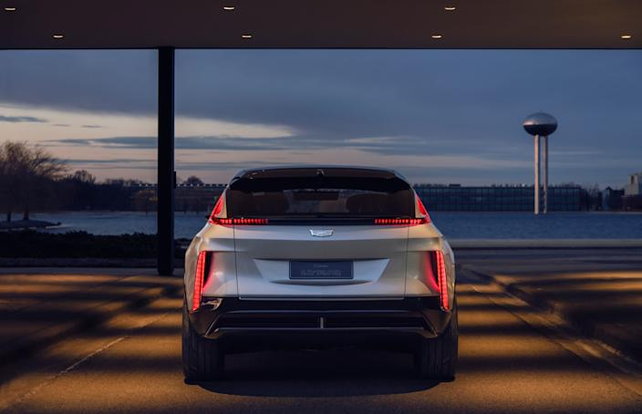 "<div class=""caption""> A look at the sleekly designed rear of Cadillac's new all-electric SUV. </div>"