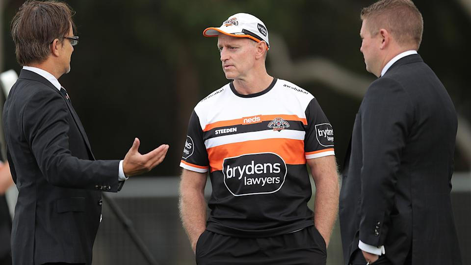 Michael Maguire will coach Wests Tigers in 2022 after the club announced he would stay in the position, despite a disastrous 2021 season. (Photo by Matt King/Getty Images)