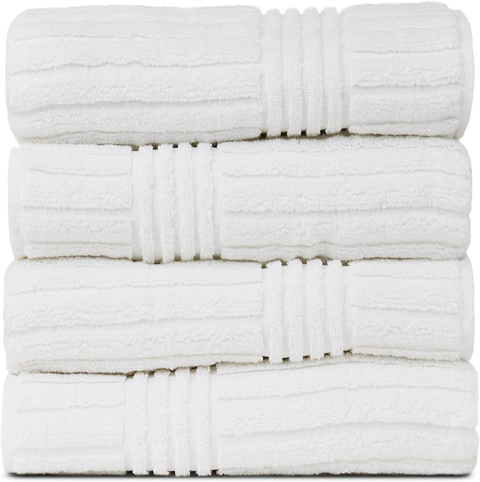 <p>If you're looking for something that's extra soft, then you can't go wrong with the <span>BC Bare Cotton Luxury Hotel &amp; Spa Ribbed Channel Pattern Bath Towel Set</span> ($45).</p>