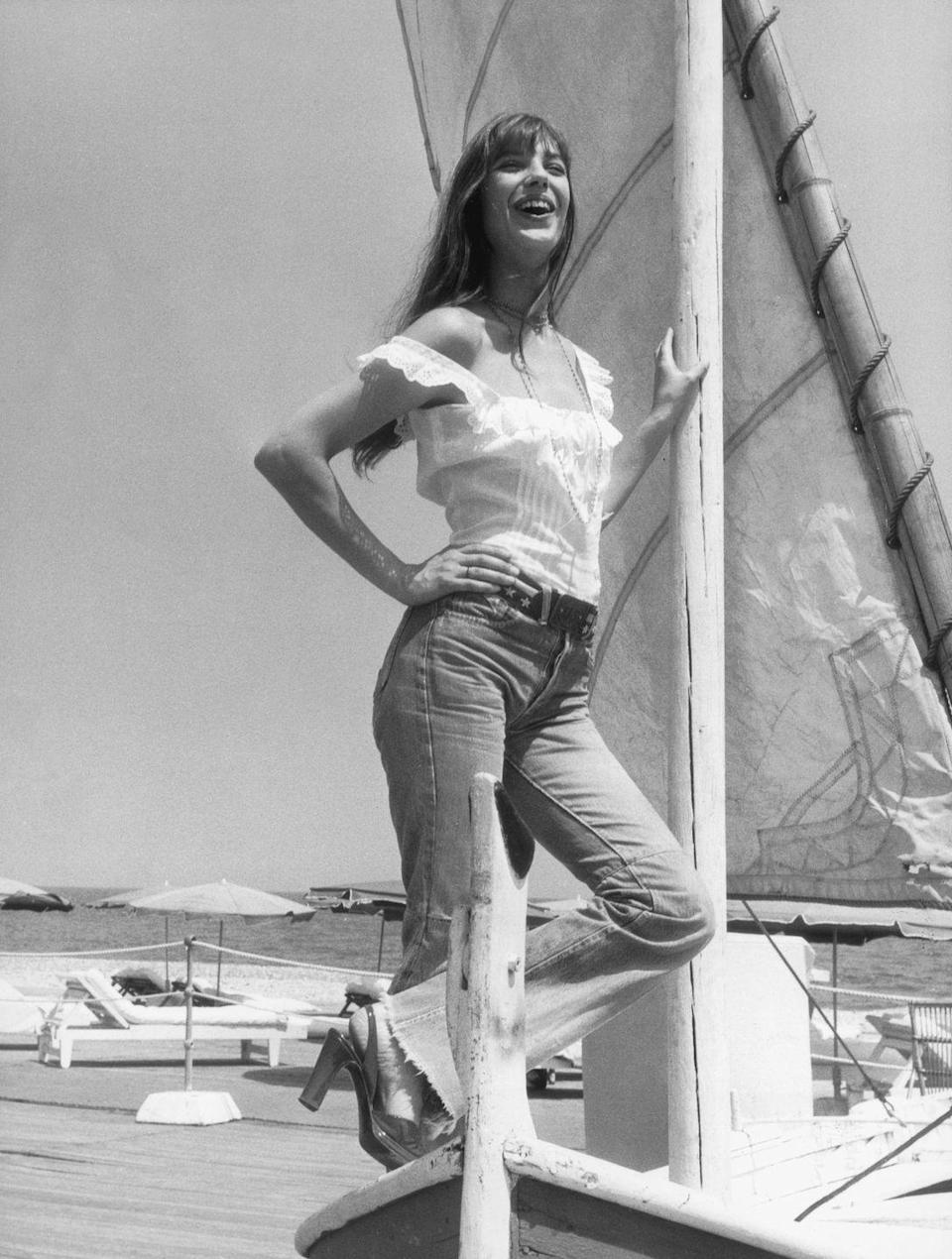 <p>Jane Birkin, on vacation, loved a flare jean like Brigitte Bardot loved a bootcut jean. (And also an unfinished hem. She was big on that, too.)</p>
