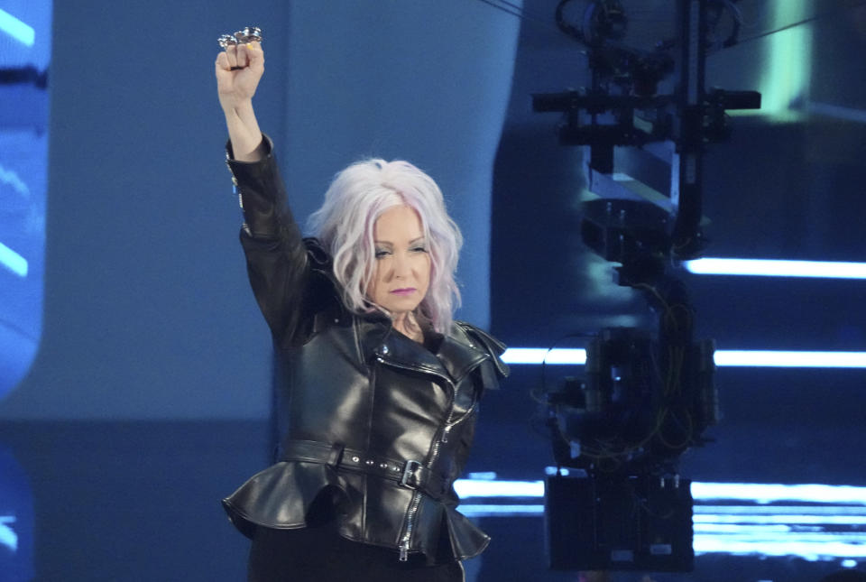 Cyndi Lauper presents the award for best pop song at the MTV Video Music Awards at Barclays Center on Sunday, Sept. 12, 2021, in New York. (Photo by Charles Sykes/Invision/AP)