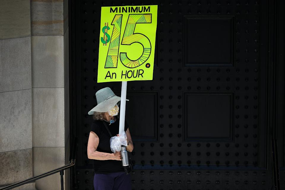 NEW YORK, USA - JULY 20: A group of BLM demonstrators protest the Federal Reserve Bank about $15 minimum wage in NYC to solidarity nationwide in Lower Manhattan at the financial district in New York, United States on July 20, 2020. (Photo by Tayfun Coskun/Anadolu Agency via Getty Images)