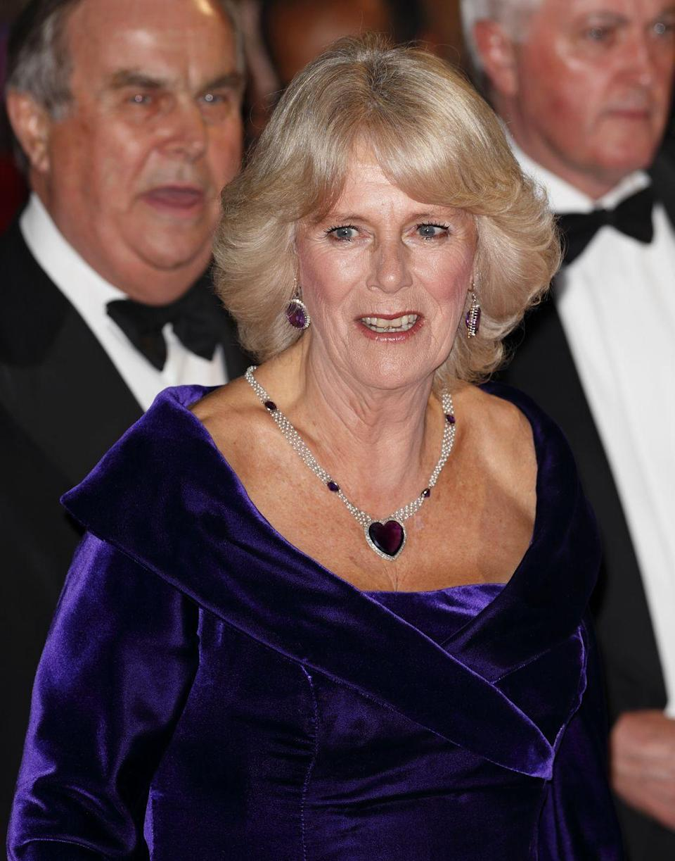 <p>Camilla's amethyst heart necklace and matching earrings stole the show at the premiere of <em>Skyfall</em> in 2012. The stones were originally given to the Queen Mother when she married in 1923, and were eventually inherited by the Queen.<br></p>